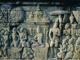 Carved Frieze, 8th Century Buddhist Site of Borobudur, Java, Indonesia Photographic Print by J P De Manne