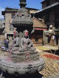 Chorten or Stupa with Carvings of the Buddha, Bungamati, Kathmandu Valley, Nepal, Asia Photographic Print by Bruno Morandi