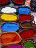 Brightly Coloured Powder for Offerings, Kathmandu, Kathmandu Valley, Nepal, Asia Photographic Print by Bruno Morandi