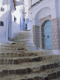Houses and Steps in Chefchaouen (Chaouen) (Chechaouen), Rif Region, Morocco, Africa Photographic Print by Bruno Morandi