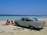 1950s American Car on the Beach, Goanabo, Cuba, Caribbean Sea, Central America Photographic Print by Bruno Morandi