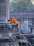 Buddhist Monks at the Temple Complex of Angkor Wat, Angkor, Siem Reap, Cambodia, Indochina, Asia Photographic Print by Bruno Morandi