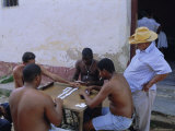 Group of Men Playing Dominos, Trinidad, Sancti Spiritus, Cuba Photographic Print by J P De Manne