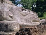 Reclining Buddha Statue, Buddha Entering Nirvana, Polonnaruwa, Sri Lanka Photographic Print by J P De Manne