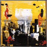 Yellow City Framed Canvas Print by Tony Soulie