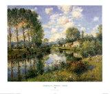 Poplars in Poitevin Marsh Print by Jean Kevorkian
