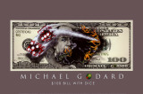 $100 Bill with Dice Poster by Michael Godard