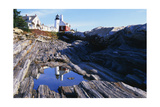 Reflection of a Lighthouse Pemaquid Point Maine Photographic Print by George Oze