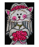 Bride to Be Kitty with Black Background Giclee Print by Lisa Lorenz