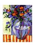 Flowers on a Striped Tablecloth Giclee Print by Patty Baker