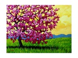 Pink Blossom Tree and Yellow Sky Giclee Print by Patty Baker