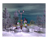 Two Snowmen in the Night Photographic Print by John Junek