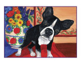 Curious Boston Terrier Giclee Print by Louise Francke