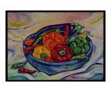 Peppers in Blue Bowl Giclee Print by Mary Connors