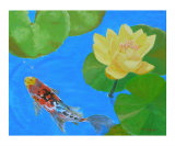 Water Lilies & Lone Koi Fish Giclee Print by Thi Nguyen