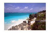 Rocky Beach Mayan Riviera Tulum Mexico Photographic Print by George Oze