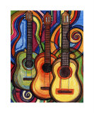 Three Guitars Giclee Print by Leone Ardo