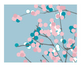 Blue and Pink Blossom Photographic Print by Estela Lugo