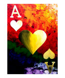 Colorful Ace Of Hearts Giclee Print by Teo Alfonso