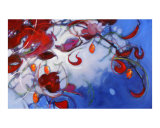 Red Leaves With Tony Blue Giclee Print by Ann Tuck