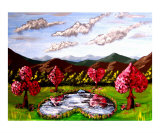 Poker Suit Cherry Blossoms Giclee Print by Teo Alfonso