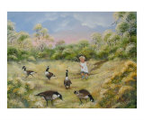 Chasing the Geese Giclee Print by Irene Clarke