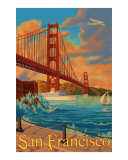 Golden Gate Bridge San Francisco Travel Poster Lámina giclée por Lantern Press