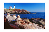 Wide Angle View of The Cape Neddick Lighthouse. Photographic Print by George Oze