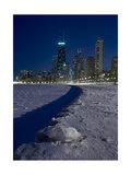 Chicago Skyline At North Ave Beach, Winter Photographic Print by Steve Gadomski
