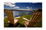 Adirondack Chairs Overlooking Booth Bay Harbor Photographic Print by George Oze