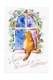 Home Sweet Home Cat in Window Giclee Print by sylvia pimental