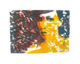 Self Portrait Yellow, Red, & Blue Curtain Giclee Print by Becki Sanders