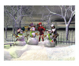 Three Snowmen in the Night Photographic Print by John Junek
