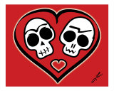 Calaveras Enamoradas - Skulls in Love Photographic Print by Ladislao Loera