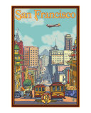 San Francisco Cable Cars California Street Poster Giclee Print by  Lantern Press