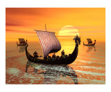 Vikings Ships on the Move Photographic Print by John Junek