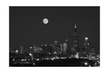 Chicago Skyline & Full Moon In Black & White Photographic Print by Steve Gadomski