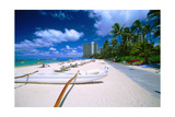 Beach Umbrellas and Outrigger Canoe Photographic Print by George Oze