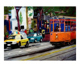 090607 Fishermans Wharf Trolley Car Giclee Print by Garland Oldham