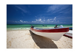 Boat on Tropical Beach Playa del Carmen Mexico Photographic Print by George Oze