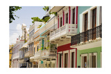 Balconies of Calle Del Cristo San Juan Photographic Print by George Oze