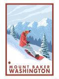 Snowboarder Scene, Mount Baker, Washington Prints by  Lantern Press