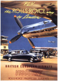 Fly the Rolls Royce way to London, 1953 Posters van Frank Wootton
