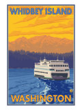 Ferry and Mountains, Whidbey Island, Washington Prints by  Lantern Press