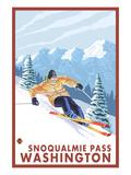 Downhhill Snow Skier, Snoqualmie Pass, Washington Prints