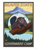 Beaver & Mt. Hood, Government Camp, Oregon Prints by  Lantern Press