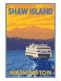 Ferry and Mountains, Shaw Island, Washington Prints