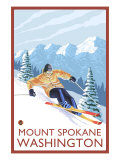 Downhhill Snow Skier, Mount Spokane, Washington Prints