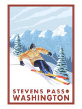 Downhhill Snow Skier, Stevens Pass, Washington Prints by  Lantern Press