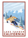 Downhhill Snow Skier, Lake Tahoe, California Premium Giclee Print by  Lantern Press